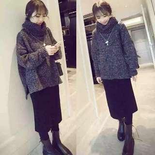 韓版女裝加厚兩件式套裝針織毛衣上衣長裙