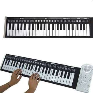 49 keys silicone foldable electronic digital roll up keyboard piano with speaker