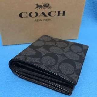 Coach F11971 灰黑色對摺銀包