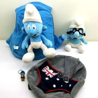 Toddler bags × 2 + FOC Smurf soft toy and key chain