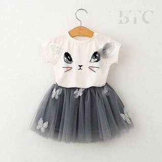 Cat Tshirt with Butterfly Tutu Skirt