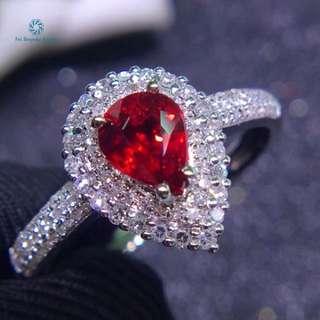 18K白金 無燒鴿血紅紅寶石鑽石戒指