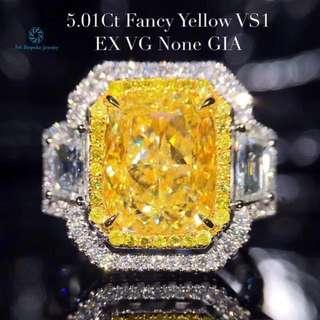 18K白金 GIA黃鑽 豪華鑲嵌戒指 收藏級別 (歡迎詢價)