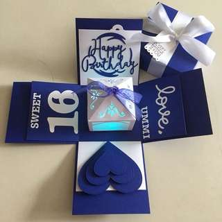 Explosion box with lighthouse & 4 personalised photos in navy & white