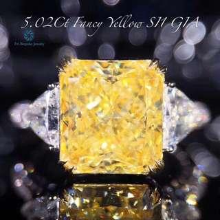 18K白金 GIA黃鑽 豪華鑲嵌戒指