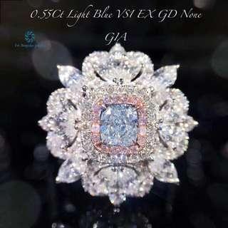 18K白金 GIA藍鑽 豪華鑲嵌鑽石戒指 (歡迎詢價)