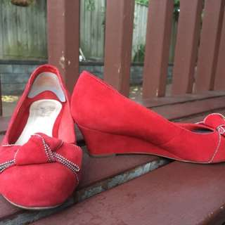 Jo Mercer red suede shoes