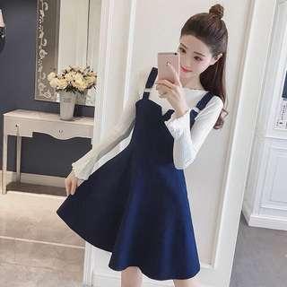 韓版女裝春夏修身顯瘦牛仔吊帶裙洋裝A字裙連身裙