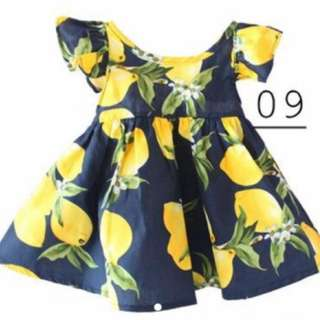 Black lemon prints cotton dress