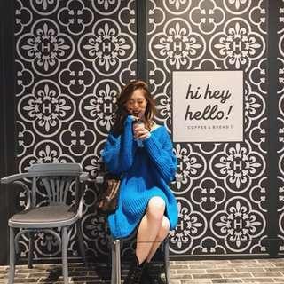 轉售正韓 Amissa #Y007大v領針織衫 (寶藍)