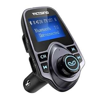 """VicTsing Bluetooth FM Transmitter for Car, Wireless Bluetooth Radio Transmitter Adapter with Hand-Free Calling and 1.44"""" LCD Display, Music Player Support TF Card USB Flash Drive AUX Input/Output"""