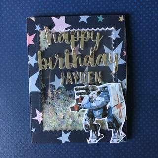 War robot birthday shaker card