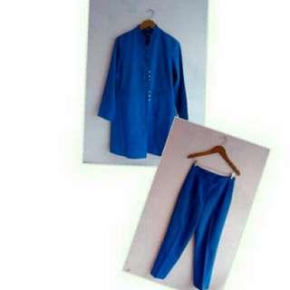 Set Blazer Blue + Celana Exlusive Wear