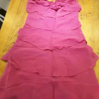 Dress pink teli leher