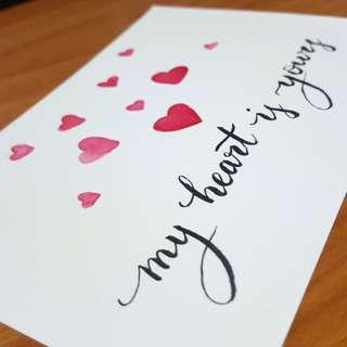 Watercolour painting calligraphy card - my heart is yours