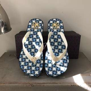 Tory Burch Wedge Flip Flops Sandals Size 7