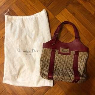 Dior Red/ Beige / Burgundy monogram leather handbag 袋
