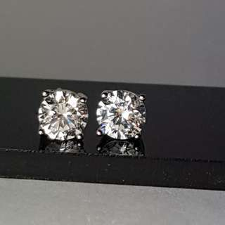 Anting Cubic Zirconia 8mm White Gold Plated