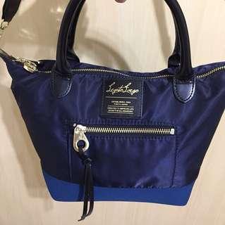日本Legato largo 輕量藍色尼龍手提包側背包斜背包