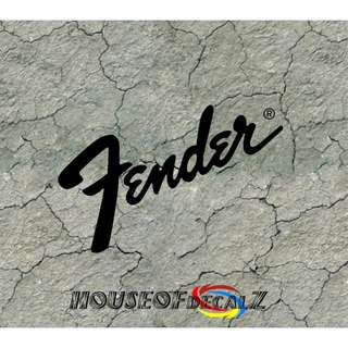 "Custom ""Fender"" Guitar logo Diecut Vinyl Decal No Background"