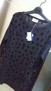 Tsumori Chisato 全新黑色女裝圖案長身衫