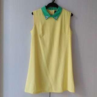 🚚 WEALTH HONOR黃綠鑲鑽無袖洋裝