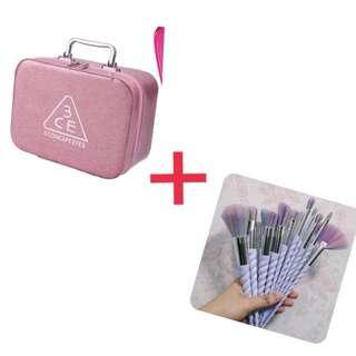 Korean Makeup Bag with Unicorn makeup brushes