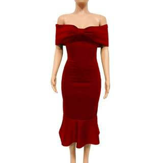 European Style Boat Neck Bow Knot Dress
