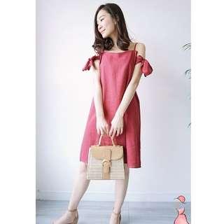 韓 側袖蝴蝶結洋裝 正韓 doris korea 綁帶 蝴蝶結 洋裝 顯白 苺果紅