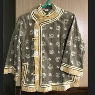 唐裝 綠色 墨綠色 金色 黃色 印染 圖騰 中國風 中國服 過年 新年 拜年 古裝 喜氣 顯瘦 長袖 上衣 七分袖 直筒