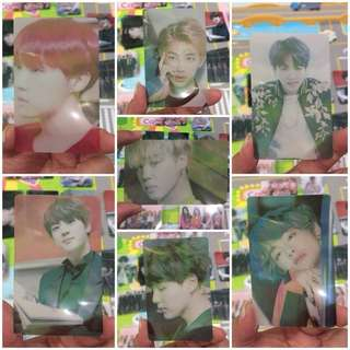 BTS members transparent photocards