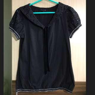 ANNASUI 安娜蘇 黑色 蕾絲 短袖 上衣 綁帶 絨布 蝴蝶結