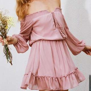 boho long sleeve ruffle chiffon off shoulder mini dress