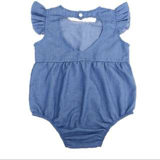 Denim romper for baby girl