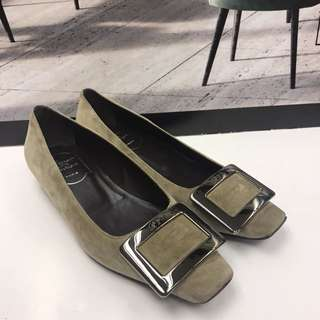Roger Vivier Seude Leather Flat Shoes