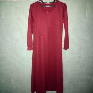 Dress waffle maroon