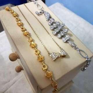 (二手)銀色孔雀手鍊/蝴蝶結鑽項鍊/金色花花手鍊♡