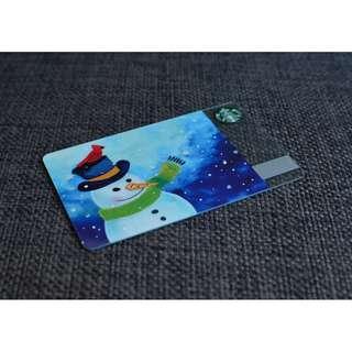 2016 UK STARBUCKS CHRISTMAS SNOWMAN CARD - Unused 100% Authentic