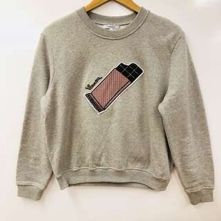 Carven Gray chocolate bar sweater size M