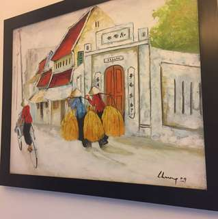 Oil painting with frame - vietnam scene