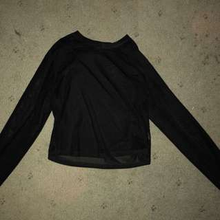 Long-Sleeve Mesh Crop