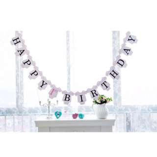 🦁Instock - happy 1st birthday banner, unisex infant toddler girl children glad cute