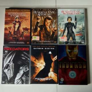 Assorted DVD Movies Terminator, Resident Evil, Iron Man, Predators, Hellboy, Batman