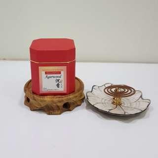 2hrs+/- Agarwood Coil Incense + Lotus Leaf & Gourd Incense Holder Set