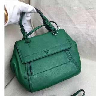 Tory Burch Green Satchel Half Moon Bag