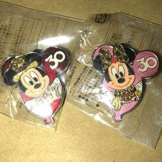 日本 迪士尼 徽章 TOKYO DISNEY PIN GAME PIN MICKY MINNIE 30週年