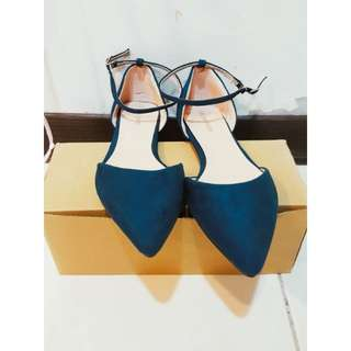 衣服日記 韓 超美 藍綠色 繞踝 綁帶 平底 包鞋