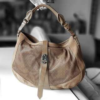 Authentic Burberry Perforated Hobo In Pebble