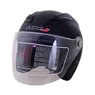 HNJ 518 Titan Open Face Motorcycle Helmet (Matte Black)