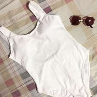 White One Piece Low Back Swimsuit